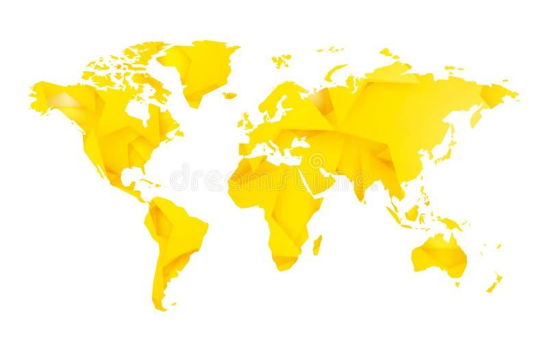 Mappa di mondo gialla dello spazio in bianco della stella illustrazione di stock