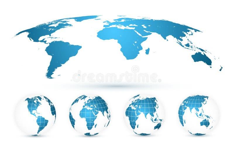 Mappa di mondo isolata su fondo bianco nel colore blu luminoso INTERRI IL GLOBO Insieme della mappa di mondo Illustrazione di vet illustrazione di stock