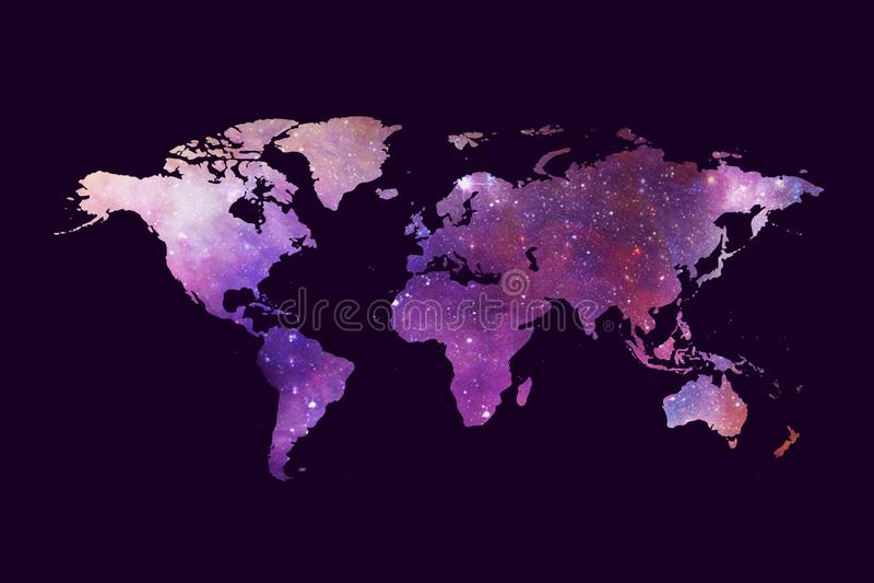 Mappa di mondo multicolore artistica dell'estratto su un fondo porpora scuro illustrazione di stock