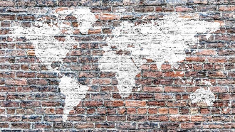 Mappa di mondo nel bianco sulla parete di mattoni rossi d'annata illustrazione vettoriale