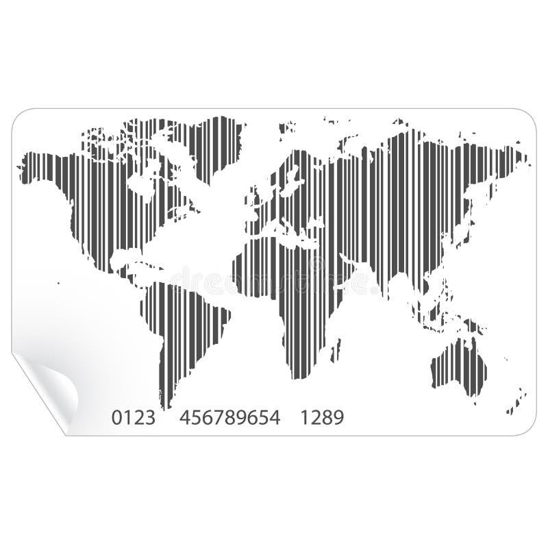 Mappa di mondo nel vettore di concetto del codice a barre illustrazione vettoriale
