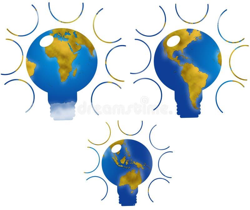 Mappa di mondo nella forma della lampadina illustrazione di stock