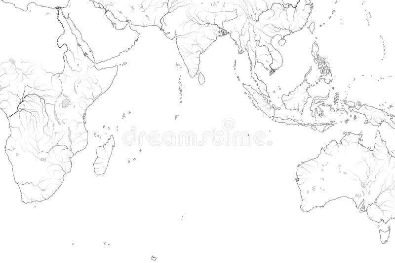 Mappa di mondo di OCEANO INDIANO: Mare di Erythraean, Madagascar, Ceylon, Bengala, India, Africa, Australia, Indonesia Grafico ge illustrazione vettoriale
