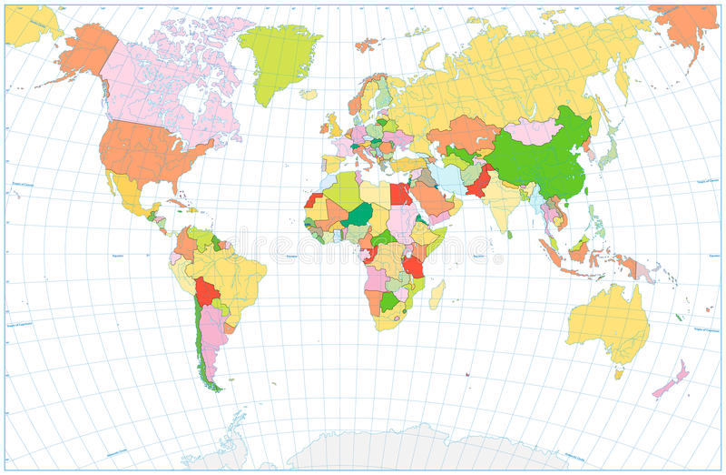 Mappa di mondo politica in bianco con i corpi di acqua isolati su bianco illustrazione di stock
