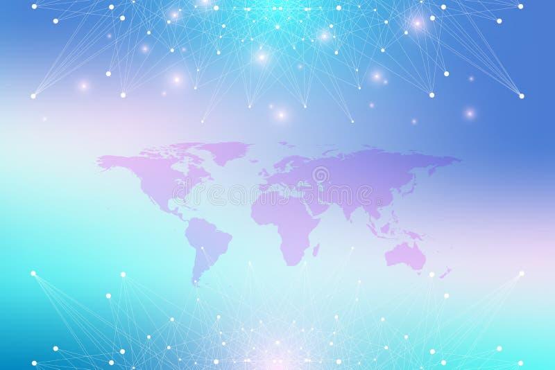 Mappa di mondo politica con il concetto globale della rete di tecnologia Visualizzazione di dati di Digital Allinea il plesso Gra illustrazione vettoriale