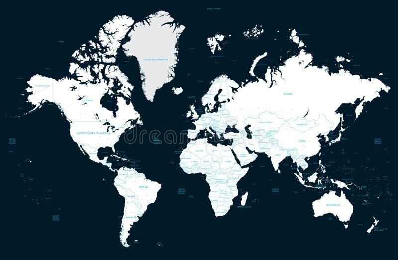 Mappa di mondo politica dell'alto dettaglio e grandi città Vettore illustrazione vettoriale