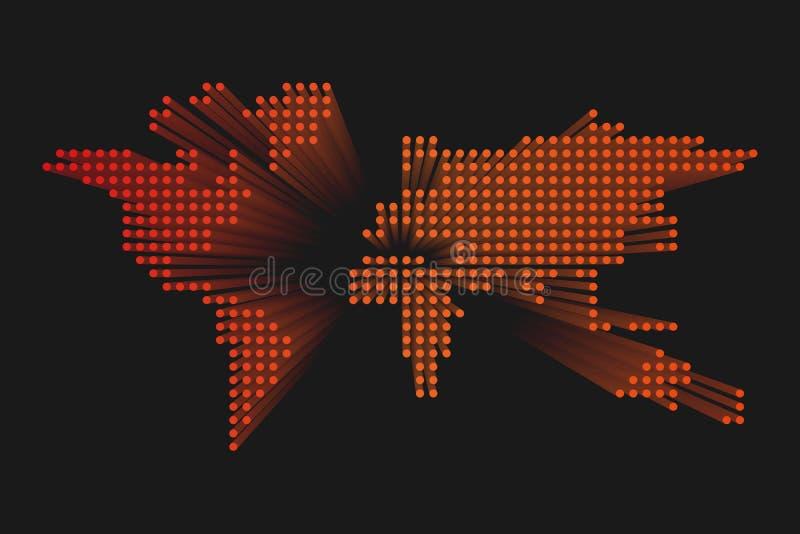Mappa di mondo punteggiata moderna Progettazione futuristica arancio di tecnologia su fondo scuro Illustratuon di vettore royalty illustrazione gratis