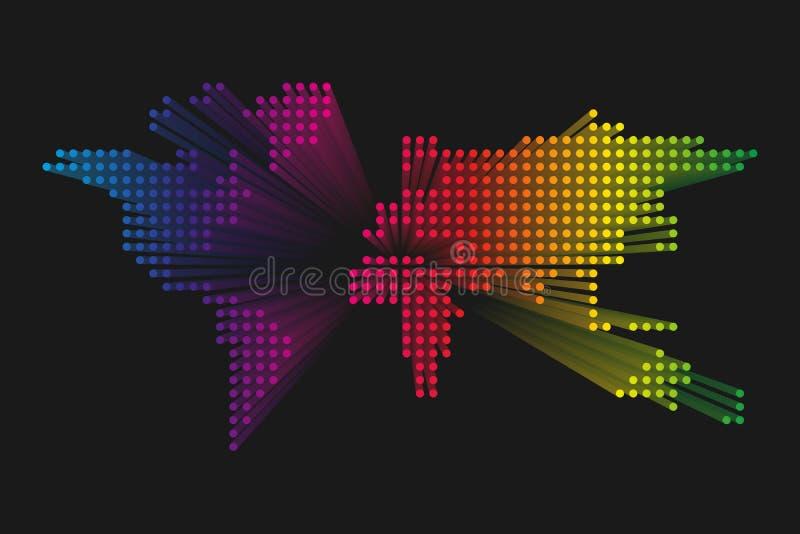 Mappa di mondo punteggiata moderna Progettazione futuristica di tecnologia di spettro dell'arcobaleno su fondo scuro Illustratuon royalty illustrazione gratis