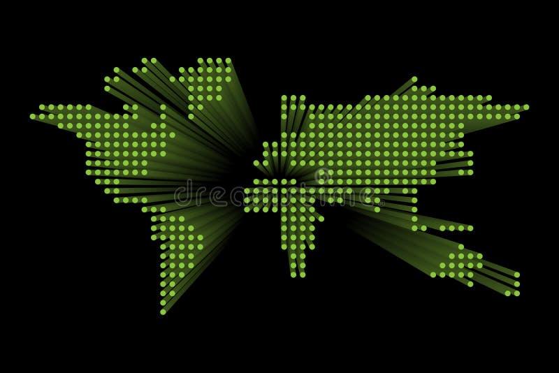 Mappa di mondo punteggiata moderna Progettazione futuristica verde di tecnologia su fondo scuro Illustratuon di vettore illustrazione vettoriale