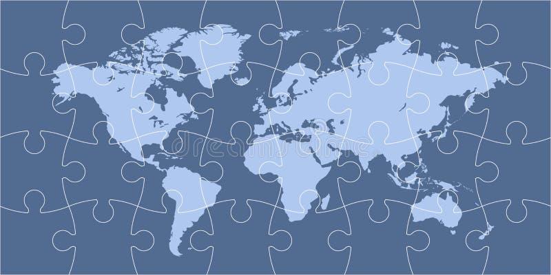 Mappa di mondo di puzzle illustrazione di stock