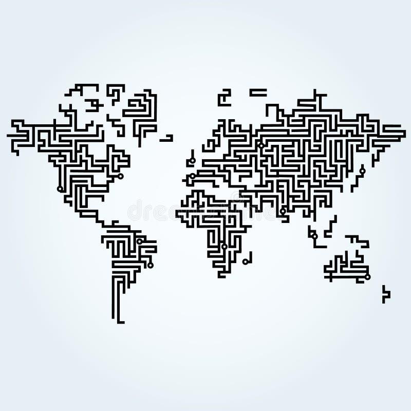 Mappa di mondo relativa alle linee del circuito illustrazione di stock