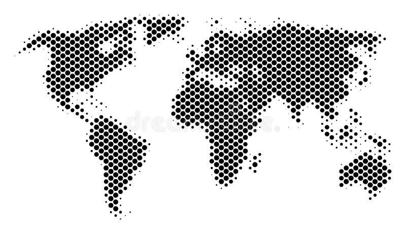 Mappa di mondo schematica di semitono illustrazione di stock