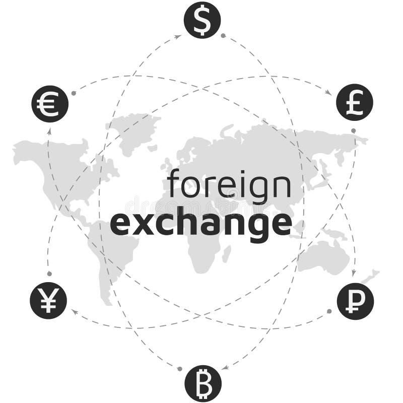 Mappa di mondo, soldi ed icona del bitcoin Valuta astratta del segno illustrazione di stock
