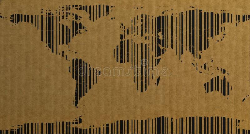 Mappa di mondo di stile del codice a barre sulla rappresentazione del cartone 3d illustrazione di stock
