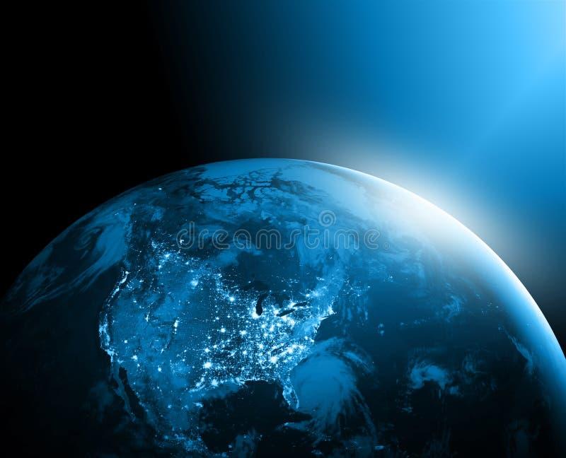 Mappa di mondo su un fondo tecnologico l'america Migliore concetto del Internet del commercio globale Elementi di questa immagine immagine stock libera da diritti