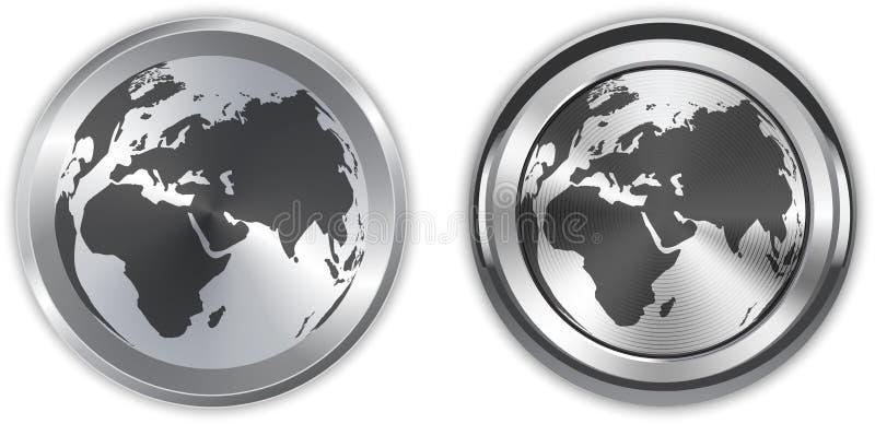 Mappa di mondo sugli elementi metallici del cerchio illustrazione di stock