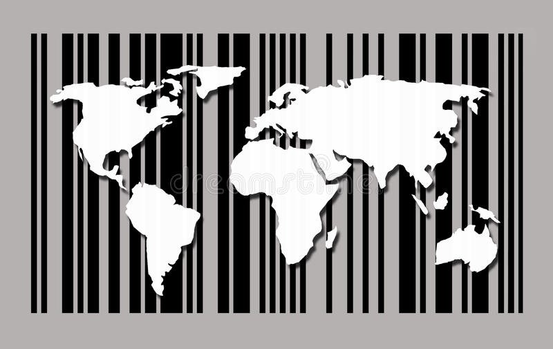 Mappa di mondo sul fondo del codice a barre illustrazione di stock