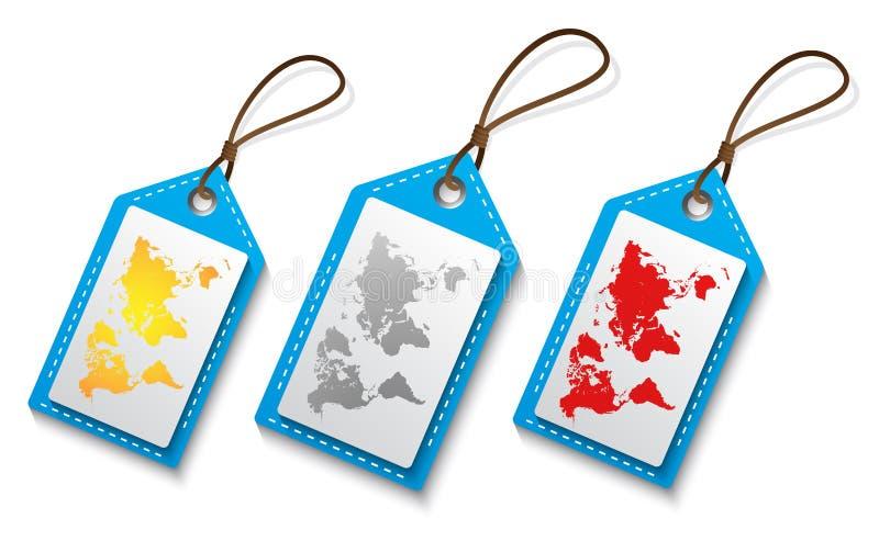 Mappa di mondo sull'etichetta in vario colore royalty illustrazione gratis