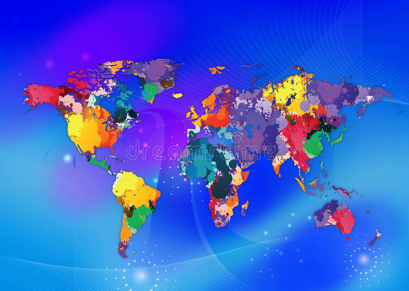 mappa di mondo variopinta royalty illustrazione gratis