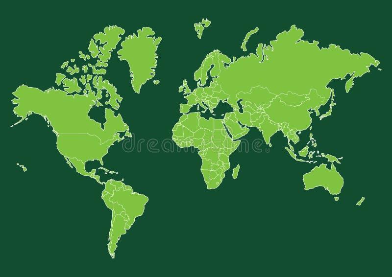 Mappa di mondo verde con i paesi illustrazione di stock