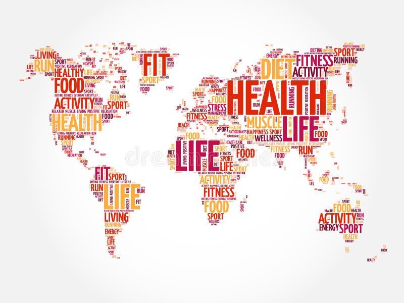 Mappa di mondo di vita e di salute nella tipografia illustrazione di stock