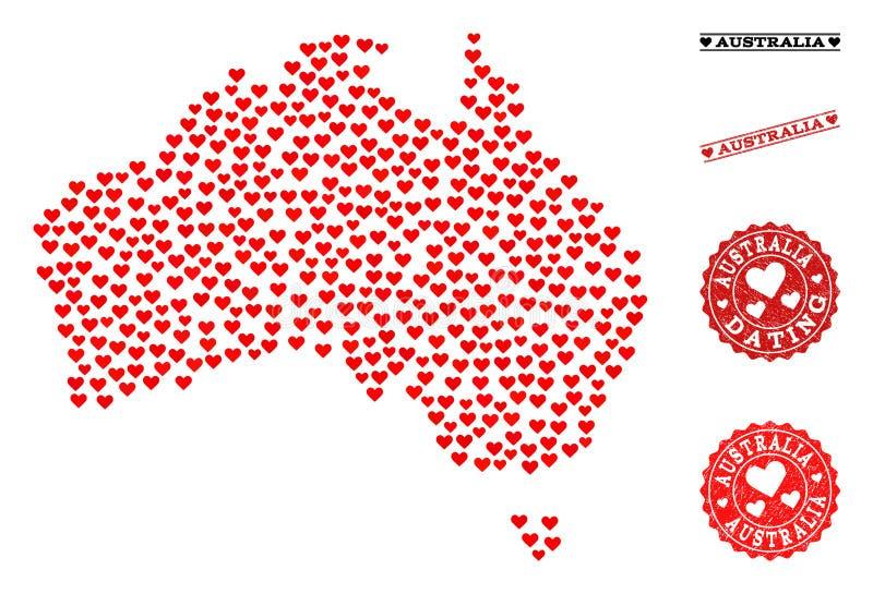 Mappa di mosaico adorabile dell'Australia e dei bolli di lerciume per i biglietti di S. Valentino illustrazione di stock