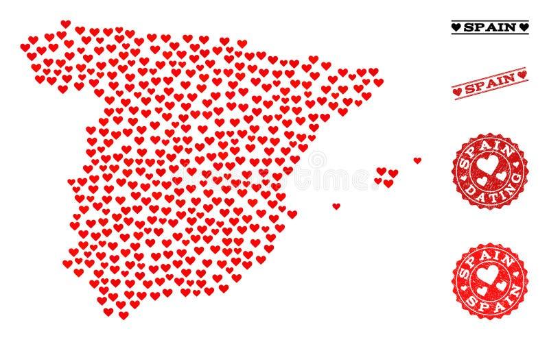 Mappa di mosaico del cuore della Spagna e dei bolli di lerciume per i biglietti di S. Valentino illustrazione vettoriale