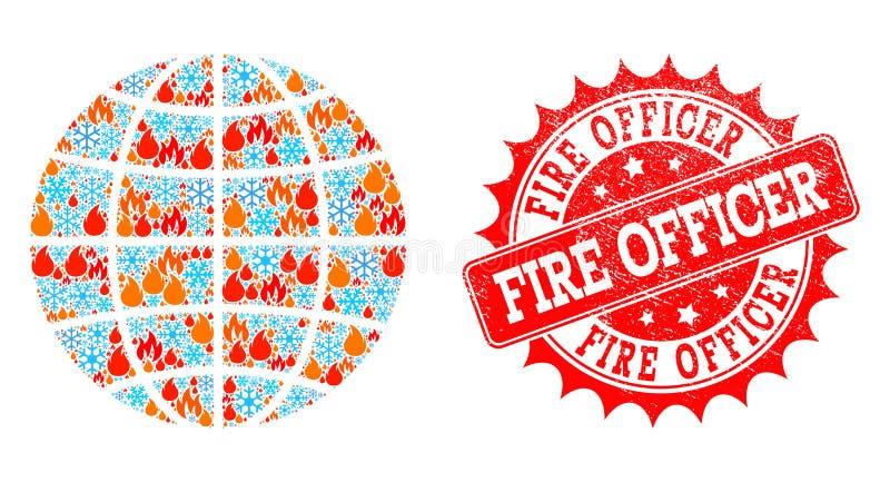 Mappa di mosaico del mondo globale della fiamma e dell'ufficiale Scratched Stamp del fuoco e della neve illustrazione di stock