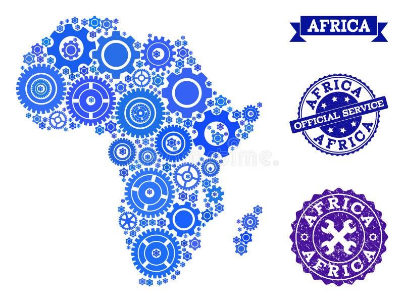 Mappa di mosaico dell'Africa con le ruote di ingranaggio e le guarnizioni di lerciume per servizio illustrazione vettoriale
