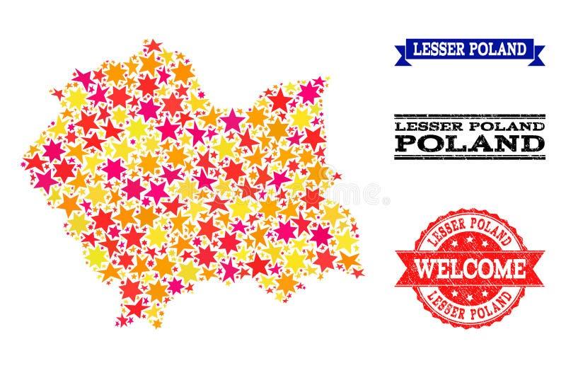 Mappa di mosaico della stella dei bolli di lerciume e di Lesser Poland Province royalty illustrazione gratis