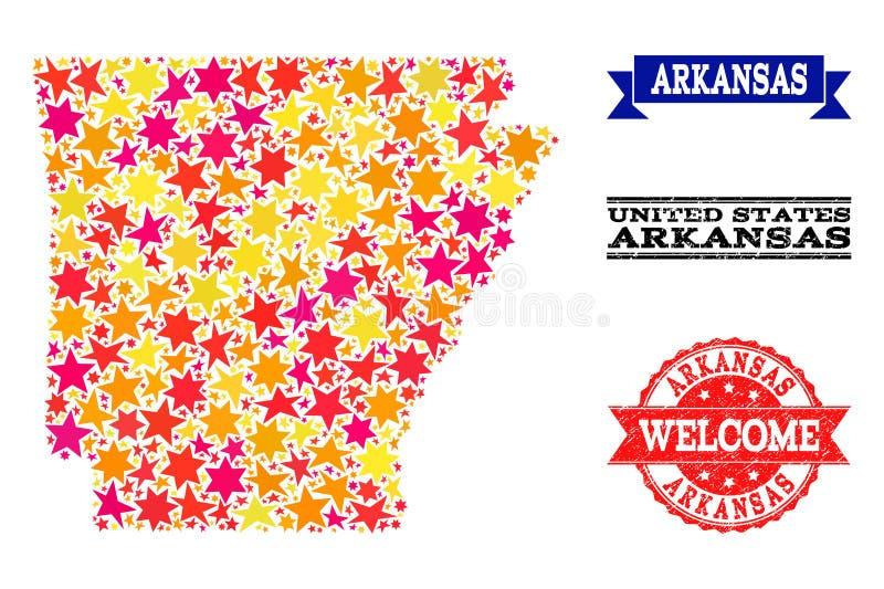 Mappa di mosaico della stella delle filigrane dello stato e di lerciume dell'Arkansas illustrazione di stock