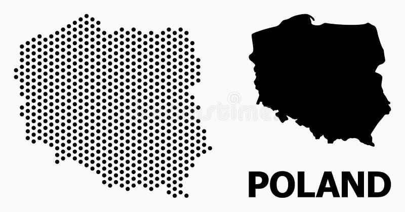 Mappa di mosaico di Pixelated della Polonia illustrazione di stock