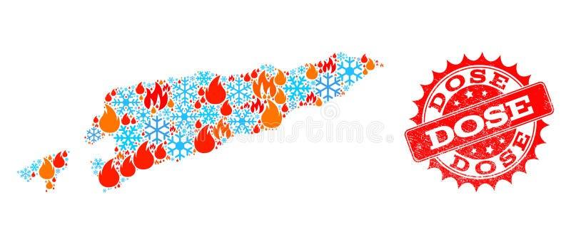 Mappa di mosaico di Timor orientale del bollo di lerciume del fuoco e della neve e della dose royalty illustrazione gratis