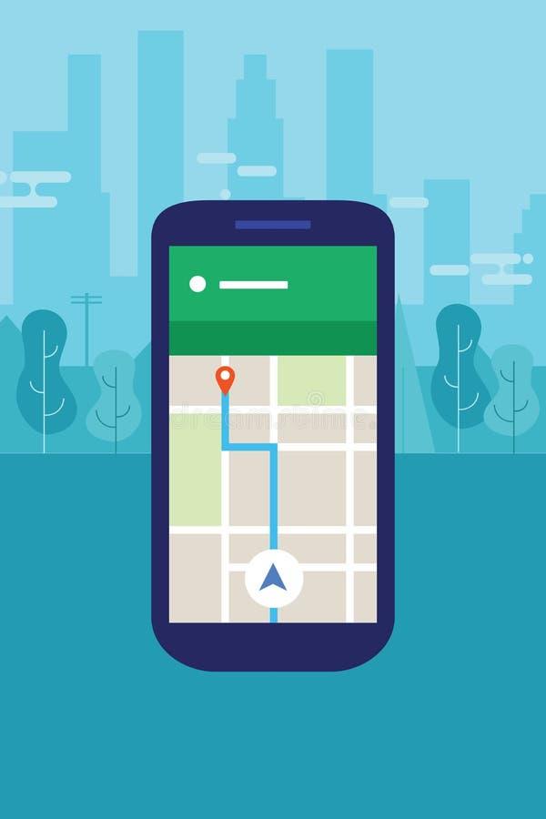 Mappa di navigazione del telefono cellulare nel viaggio di applicazione dello Smart Phone dello schermo della città illustrazione di stock
