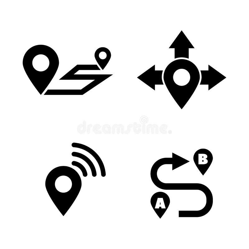Mappa di navigazione Icone relative semplici di vettore illustrazione di stock