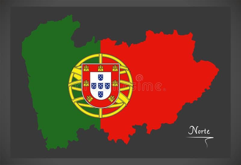 Mappa di Norte Portogallo con la bandiera nazionale portoghese royalty illustrazione gratis