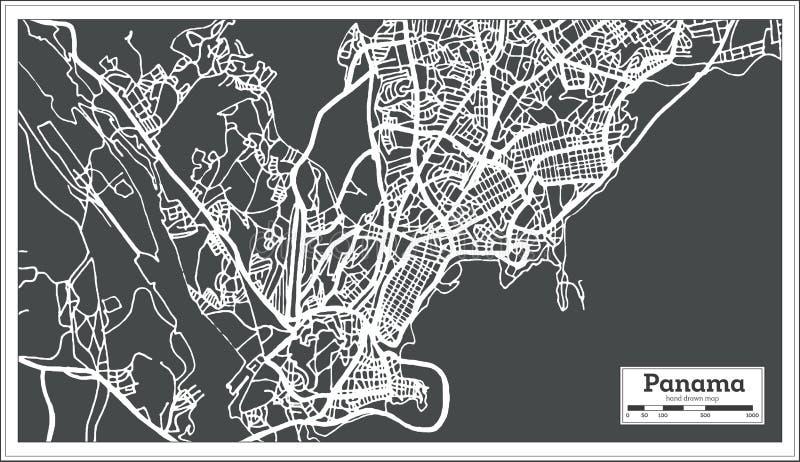 Mappa di Panamá nel retro stile Illustrazione in bianco e nero di vettore illustrazione di stock