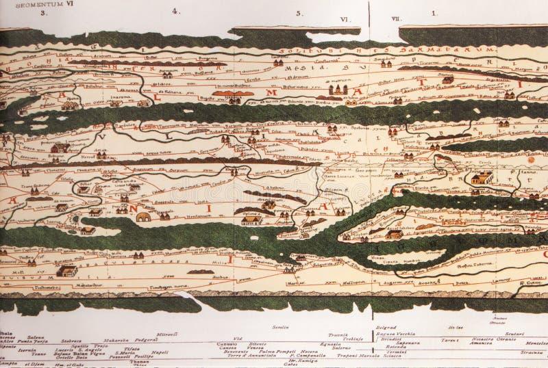 Mappa di Peutinger, frammento immagini stock