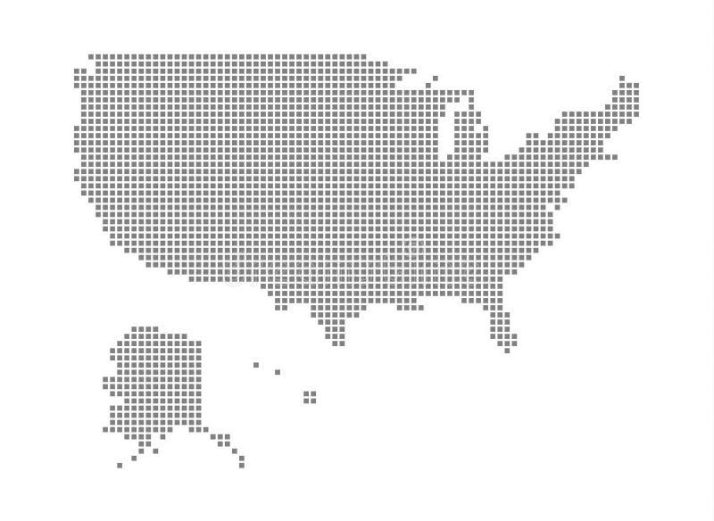 Mappa di pixel dello stato unito dell'America Vector la mappa punteggiata dello stato unito dell'America ha isolato su fondo bian illustrazione di stock