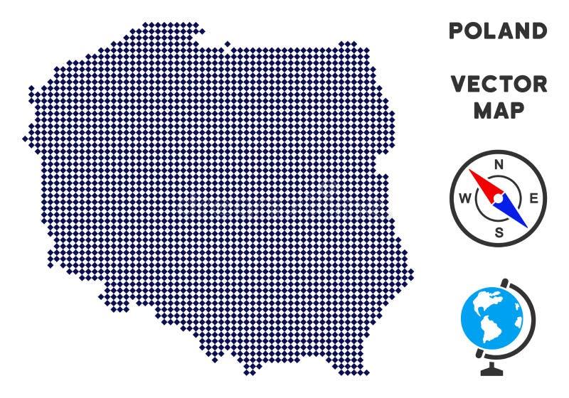 Mappa di Pixelated Polonia royalty illustrazione gratis
