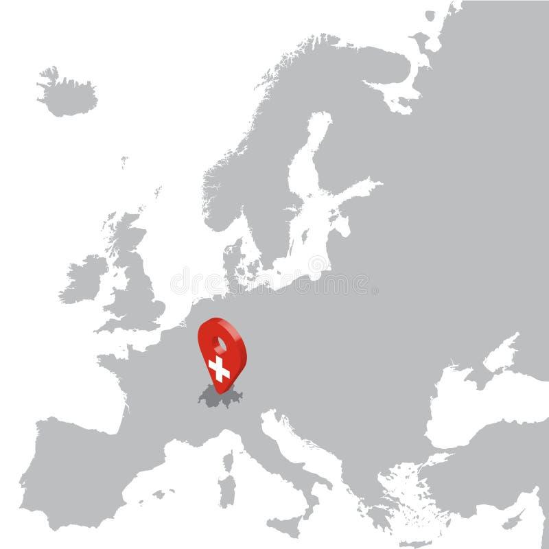 Mappa di posizione della Svizzera sulla mappa Europa perno di posizione dell'indicatore della mappa della bandiera di 3d Svizzera illustrazione vettoriale