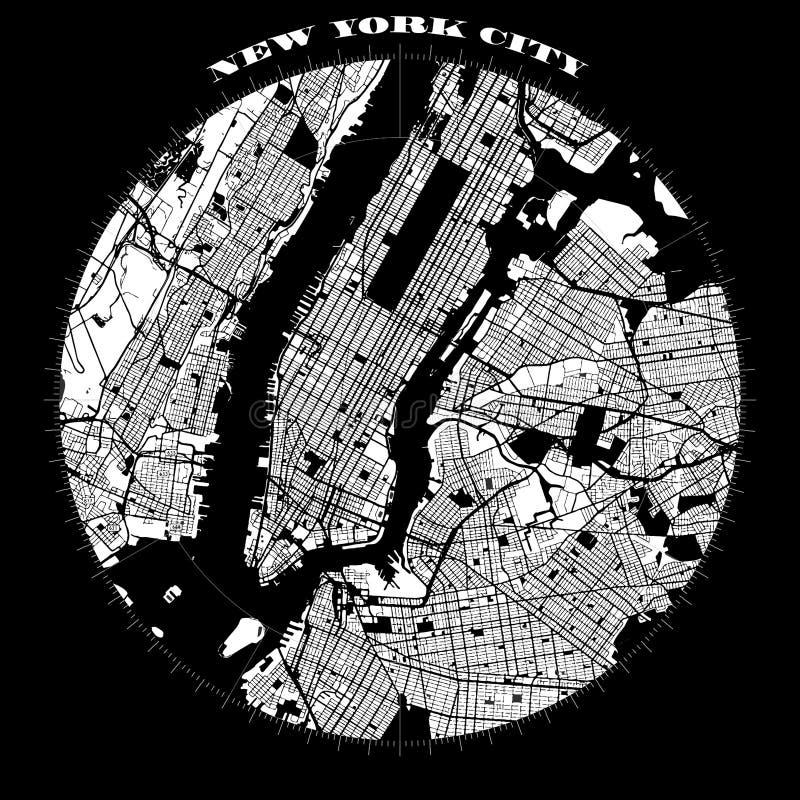 Mappa di progettazione della bussola di New York Manhattan royalty illustrazione gratis