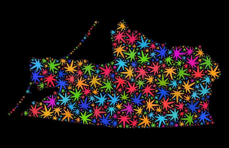 Mappa di regione di Kalinigrad del mosaico delle foglie colorate Multi della cannabis illustrazione vettoriale