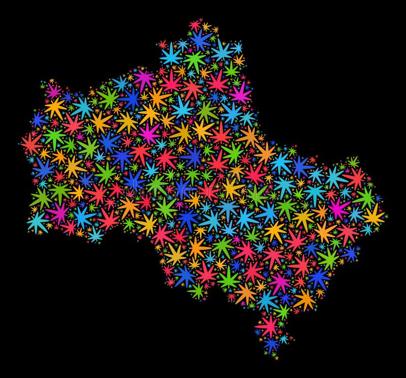 Mappa di regione di Mosca del mosaico delle foglie colorate della marijuana illustrazione vettoriale
