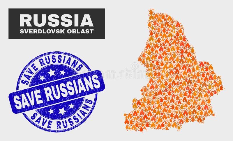 Mappa di regione di Sverdlovsk del mosaico del fuoco e guarnizione di risparmio graffiata dei Russi illustrazione di stock