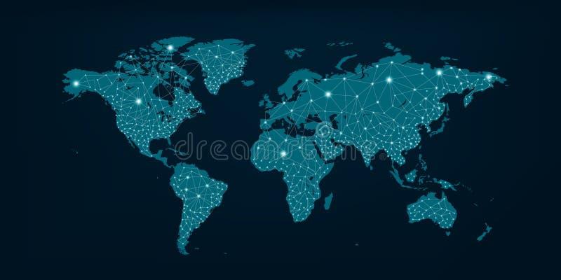 Mappa di rete di comunicazioni del fondo blu scuro della mappa blu del mondo fotografie stock