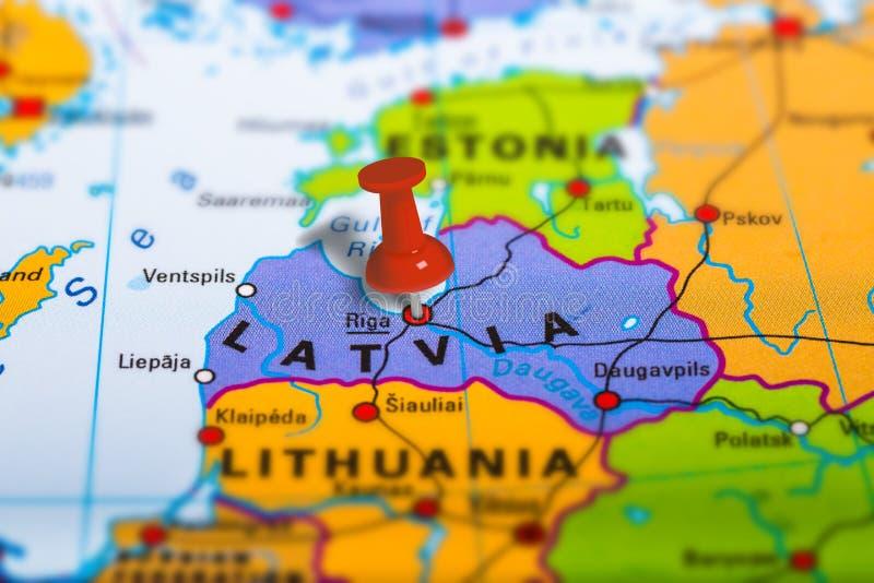 Mappa di Riga Lettonia immagini stock