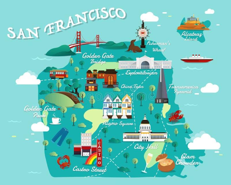 Mappa di San Francisco Attractions Vector And Illustration royalty illustrazione gratis