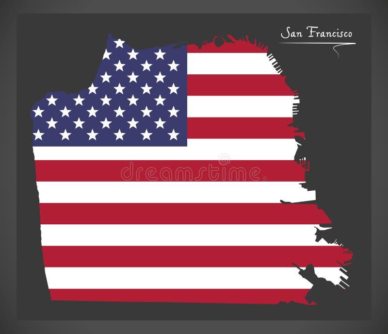 Mappa di San Francisco con l'illustrazione americana della bandiera nazionale illustrazione di stock