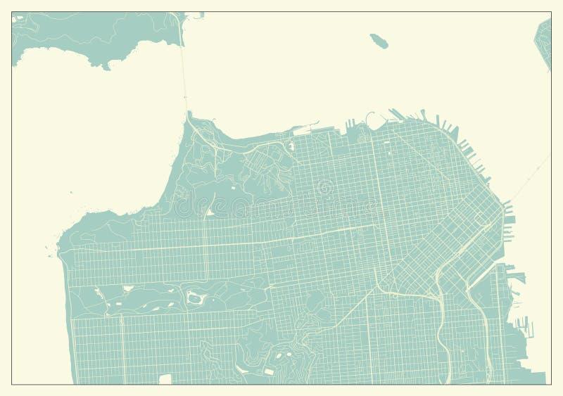 Mappa di San Francisco U.S.A. nel retro stile royalty illustrazione gratis